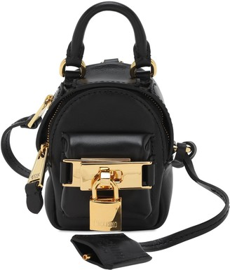 Moschino Mini Leather Backpack Key Holder