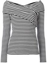 Theory boat neck striped blouse - women - Spandex/Elastane/Viscose - M