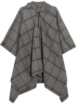 Balenciaga Plaid Cashmere And Wool-blend Poncho - Gray