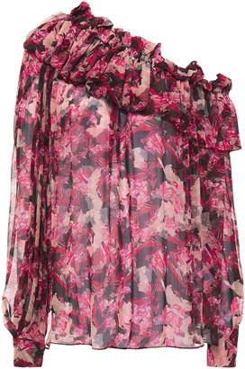 IRO Jolie One-shoulder Ruffled Floral-print Crepon Top