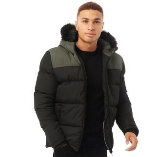 Brave Soul Mens Laker Padded Jacket With Hood Black/Khaki