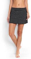 Classic Women's Long SwimMini Skirt-Black Dot