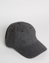 Asos Baseball Cap In Charcoal Melton