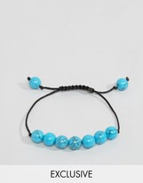Reclaimed Vintage Cord Tie Beaded Bracelet In Blue