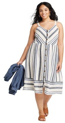 Universal Thread Women's Plus Size Striped Sleeveless V-Neck Button-Front Sun Dress - Universal ThreadTM