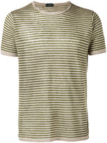 Zanone knitted striped T-shirt - men - Linen/Flax - S