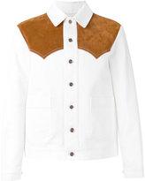 Umit Benan western shirt jacket - men - Cotton/Leather - 48