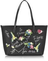Love Moschino Black Canvas and Eco Leather Tote w/Embroidery I Love You