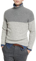 Brunello Cucinelli Colorblock Cashmere Turtleneck Sweater, Gray