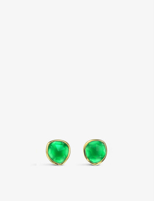 Monica Vinader Siren 18ct gold-plated vermeil silver and green onyx stud earrings
