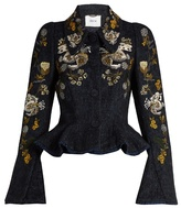 Erdem Esha floral-embroidered plaid peplum jacket