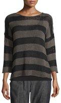 Eileen Fisher Crisp Organic Cotton Striped Sweater, Oregano