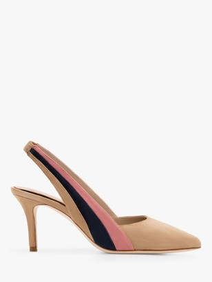 Boden Louisa Suede Slingback Stiletto Heel Court Shoes, Camel/Multi
