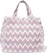 Melissa Odabash Ibiza fringed printed cotton-canvas tote