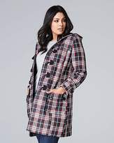 Fashion World Navy/Red Check Duffle Coat Length 37in