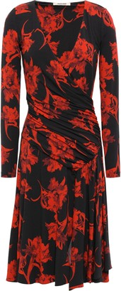 Roberto Cavalli Wrap-effect Floral-print Stretch-jersey Dress