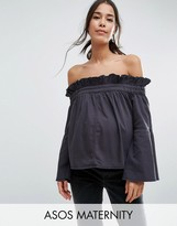 Asos Denim off Shoulder Top with Flared Sleeves