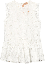 No.21 NO. 21 Floral-embroidered peplum top