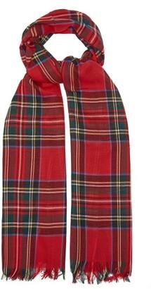 Johnstons of Elgin Fringed Tartan Wool Scarf - Red Multi