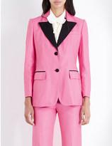 Gucci Contrast-lapel leather tuxedo jacket