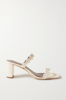 STAUD Franka Appliqued Croc-effect Leather Sandals - Cream