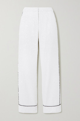 Loren In The Mood For Love Piped Sequined Tulle Wide-leg Pants - White