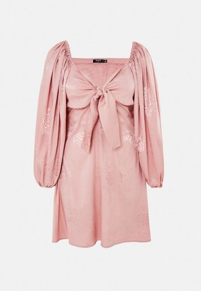 Missguided Petite Pink Satin Jacquard Puff Sleeve Mini Dress