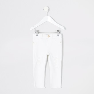 River Island Mini girls White ripped Molly jeggings