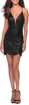 La Femme Sequin Party Minidress