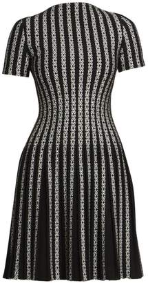 Alaia Plisse Twist Short-Sleeve Knit Wool-Blend A-Line Dress