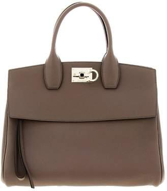 Salvatore Ferragamo Handbag The Studio Bag In Genuine Hammered Leather With A Mediterranean Hook-shaped Closure
