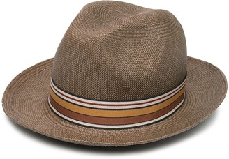 Loro Piana Striped Ribbon Woven Hat