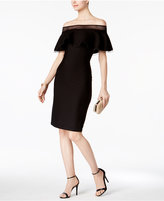 Tadashi Shoji Pintucked Ruffled Off-The-Shoulder Dress