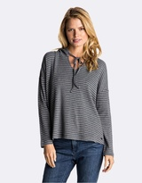 Roxy Womens Lovely Aside Stripe Long Sleeve Hooded T Shirt
