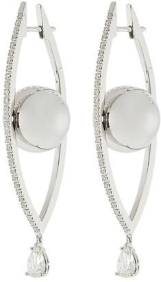 Cadar 18kt white gold large Reflections diamond hoop earrings