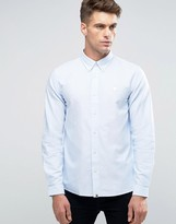 Pretty Green Oxford Shirt With Logo In Regular Fit Blue