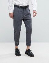 Selected Tapered Cropped Smart Pants With Stretch