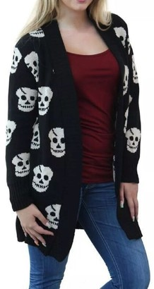 Red Olives Women's Halloween Skull Drape Aztec Long Knitted Cardigan Ladies Owl Leopard Open Jumper Knitwear Top UK 8-22 (16/18
