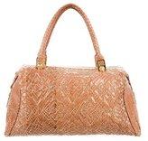 Judith Leiber Embroidered Snakeskin Handle Bag