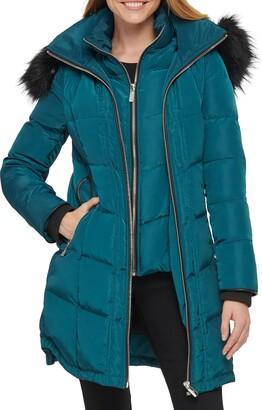 Karl Lagerfeld Paris Faux Fur Trim Puffer Jacket