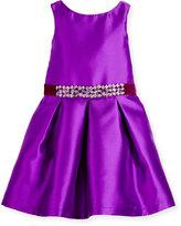 Zoë Ltd Sleeveless Belted Taffeta Party Dress, Purple, 4-6