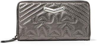 Jimmy Choo NEFER Dark Anthracite Star Matelasse Nappa Leather Zip Around Wallet