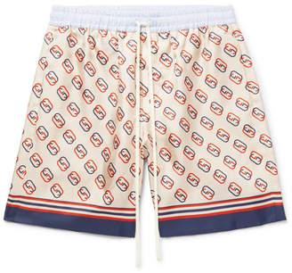 Gucci Wide-Leg Logo-Print Silk-Twill Drawstring Bermuda Shorts
