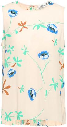 Diane von Furstenberg Pleated Floral-print Crepe Top