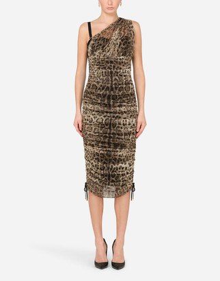Dolce & Gabbana One-Shoulder Dress In Leopard-Print Tulle