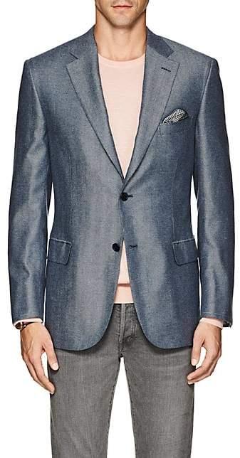 Brioni Men's Ravello Herringbone Silk-Cashmere Two-Button Sportcoat - Blue