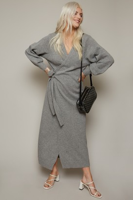 Little Mistress Finlay Grey Knit Wrap Midi Dres