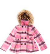 Urban Republic Pink Plaid Faux Fur-Accent Pleated Peacoat - Toddler & Girls