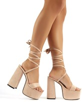 Sugar Ruffle Lace Up Barely There Heels in Red Faux Suede