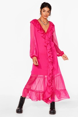 Nasty Gal Womens What Frill It Take Ruffle Maxi Dress - Hot Pink
